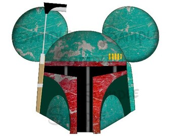Boba Fett inspired character personalized printable digital Mouse Head file DIY