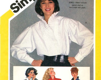 Simplicity 6124 Vintage 1980s loose-fitting pullon shirt with front inset variations uncut sewing pattern