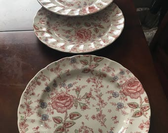 Rose Chintz Set of 4 Dinner Plates Made in England