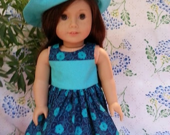 """Two Toned Blue Dress with Matching Hat for 18"""" and American Girl Dolls"""