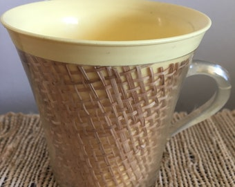 Vintage Thermal Plastic with Rattan Raffiaware Clear Handled Coffee Mug in Yellow