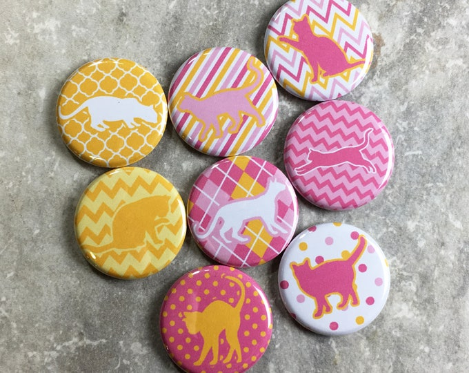 Cat Magnets - Patterned Cats in Pink and Yellow - Set of 8- Refrigerator Magnets - Office Decor
