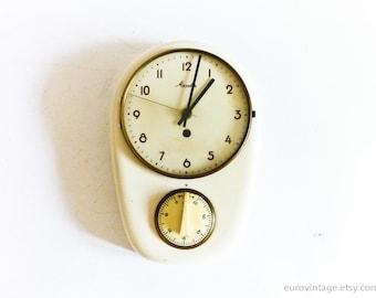 Jahrgang Mauthe Küchenuhr b Timer / Porzellan Wanduhr / weiß Keramik Wanduhr arbeiten