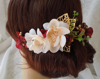 Burgundy and ivory headpiece, burgundy and gold half crown, gold and ivory bride, floral hair vine, silk flower head piece, burgundy bride
