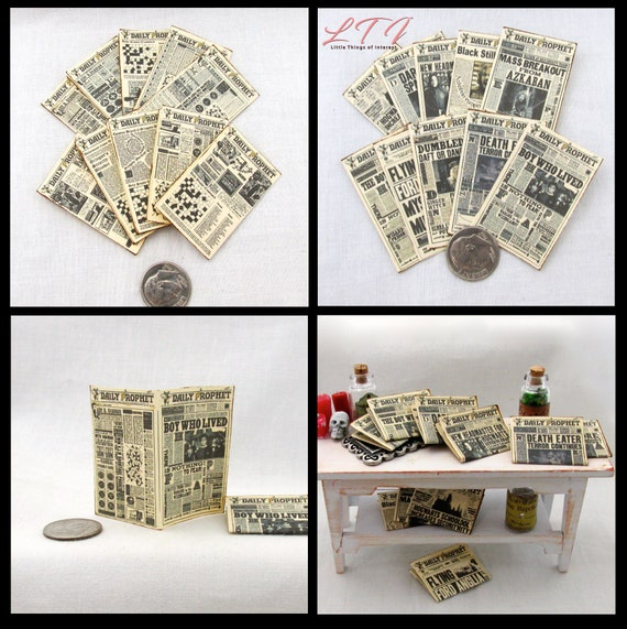 2 DAILY PROPHET NEWSPAPERS Miniature Dollhouse 1:12 Scale Illustrated Readable Magic Witch Popular Boy Wizard Potter