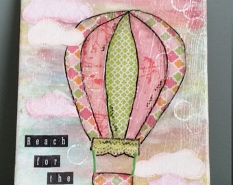 Hot Air Balloon Nursery Art, Reach for the Sky, Mixed Media Canvas, Whimsical Art, Inspirational Quote, Wall Art, Home Decor, Collage Art