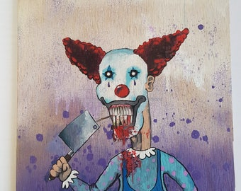 "Original Art ""Jumpy the Clown"" Acrylic Painting on Plywood"