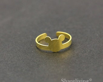 2pcs Raw Brass Mickey Mouse  Ring, Adjustable Mickey Brass Rings - TR019