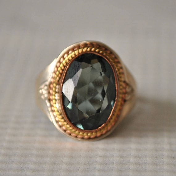 Sterling Silver Lolite Mid-Century Ring Sz 8.5  #9753
