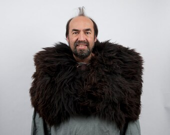 Genuine fur mantle brown sheepskin capelet larp viking armor warcraft costume cosplay orc barbarian game of thrones sca medieval clothing