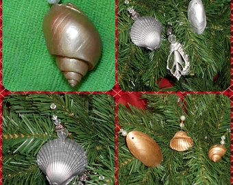 Beach Seashell Ornaments - Coastal Nautical 3 pc Set SILVER or GOLD Christmas Tree Hanging Gift- Wedding Photo Shoot Prop - Curtain Tie Back