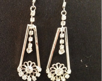 Crystal Tear Drop Earrings - Silver