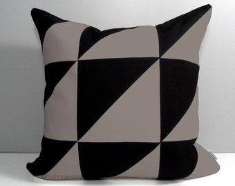 Modern Outdoor Pillow Cover, Decorative Black & Taupe Color Block, Masculine Color Block, Modern Sunbrella Cushion Cover, Mazizmuse