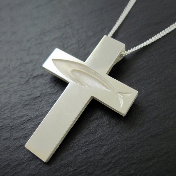 Ichthus cross necklace christian fish cross pendant with ichthus cross necklace christian fish cross pendant with chain silver ichthus cross ichthus fish from our spiritus christian collection aloadofball Image collections