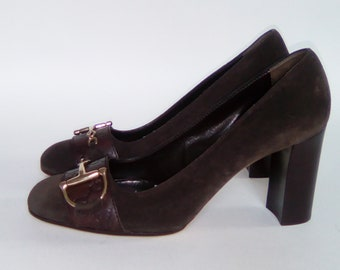Authentic GUCCI pumps bi material size Brown 10B
