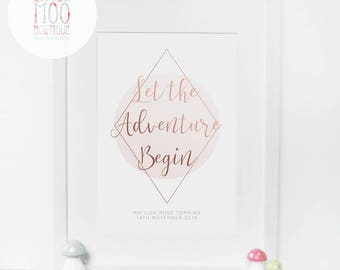 Nursery Wall Art - Let The Adventure Begin Sign - New Baby Gift - Baby Shower Gift - Nursery Decor - Baby Prints - Gifts For Baby Girl Room