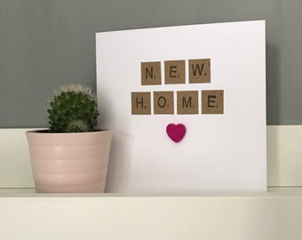 Scrabble style 'new home' greetings card