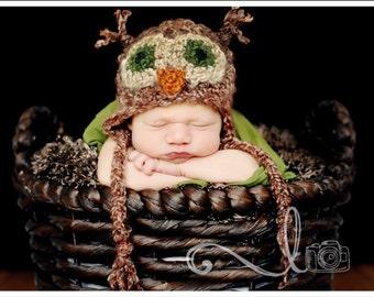 PDF Crochet Pattern - Green Eyed Owl Hat - includes 4 sizes