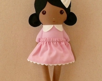 Fabric Doll Rag Doll Small 15 Inch Doll, Black Haired Girl in Pink Polka Dotted Dress