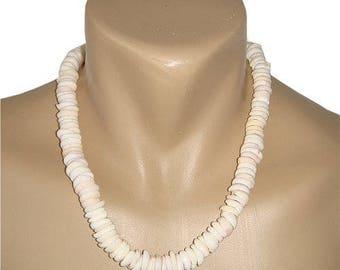 Hawaiian Jewelry Handmade Extra Large Puka Shells Choker Necklace with Koa Wood Bead Accents from Maui, Hawaii