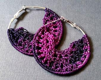 Purple Gradient Crochet Hoop Earings