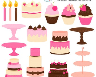 Pretty Cakes & Stands Clipart Set - cakes, stands, cupcakes, candles, cake stand - personal use, small commercial use, instant download