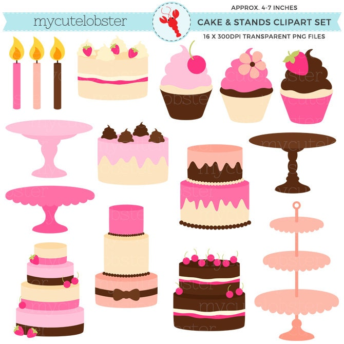Pretty Cakes & Stands Clipart Set - cakes, stands ...