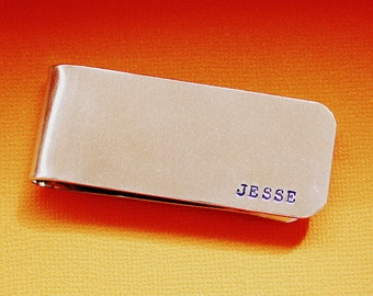 Personalized Money Clip - Hand Stamped - Custom Groomsmen Gift - Father of the Bride and Groom - Dad or Grandpa - Silver Colored