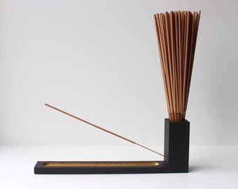 Handcrafted Chalkboard Incense Holder & Burner - Black/Gold
