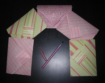 Pinks/Greens Stripes Dots Flowers - 5 Decorative Folded Self-Closing Origami Paper Envelopes Double Thick Single Sided 12x12 Scrapbook Paper