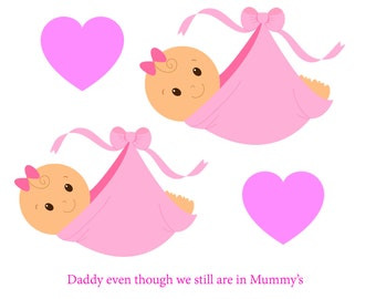 Daddy Bump Twin Girls Fathers Day Card