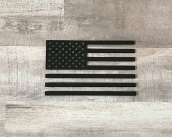 Black And White American Flag Vinyl Decal