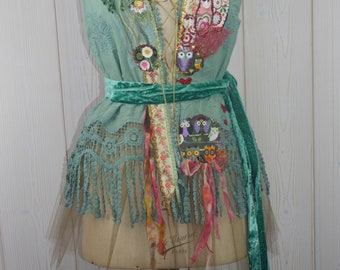"""Top cotton fringes and colorful  """"Matryoshka"""", Art to wear, Unique"""