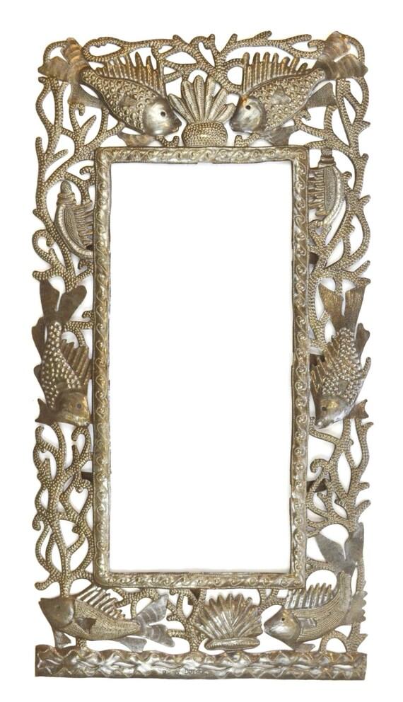 "Kelp Forest Frame, Fish Frame , Recycled Haiti Metal Art  17.5"" x 33.5"""