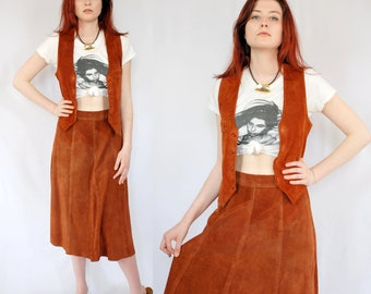 Amazing burnt sienna suede midi skirt and vest set 1980s 80s VINTAGE