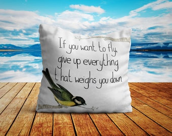 If You Want To Fly Bird Living Room Decor Inspirational Quotes Pillow 18x18 Throw Pillows Mothers Day Gifts For Mom Motivation Gift For Her