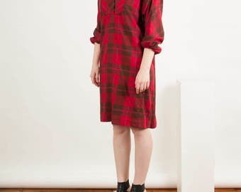 Plaid Wool Dress / Tartan Long Sleeve Dress / Midi Holiday Dress
