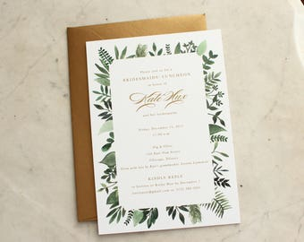 bridal luncheon, bridesmaids' luncheon OR wedding shower invitation - green ferns / greenery and gold