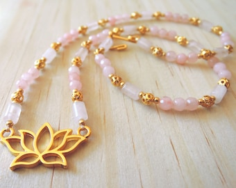 Rose Quartz Lotus Necklace