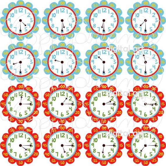 teaching time clipart digital clip art pack 300 dpi school rh etsystudio com digital clock clipart for teachers