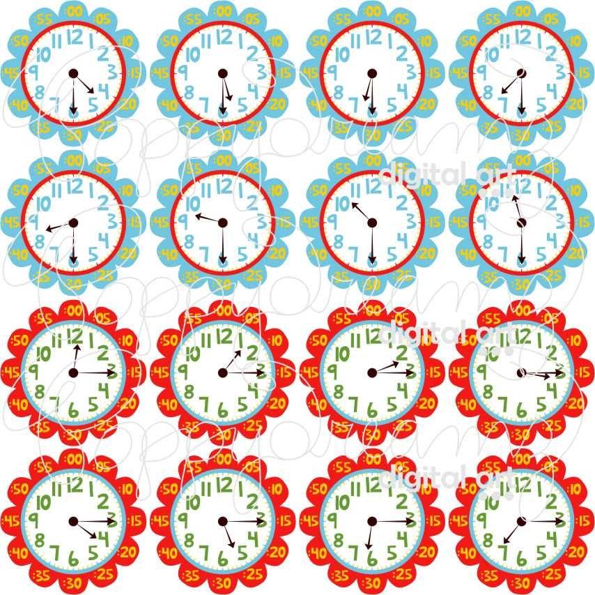 teaching time clipart digital clip art pack 300 dpi school rh etsystudio com