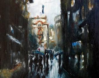 Venice Dark Alley - Italy - Oil on hardboard