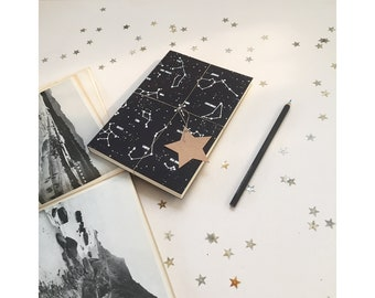 new in ! - SILVER FOIL Constellation  notebook, Star notebook, A5 A6 notebook