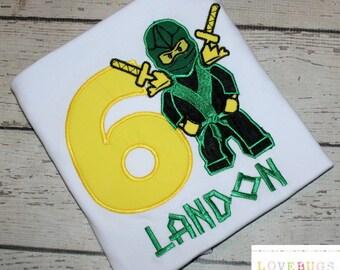 Custom Boys Building Block Ninja Birthday Shirt ~ Applique, Monogrammed, Embroidered