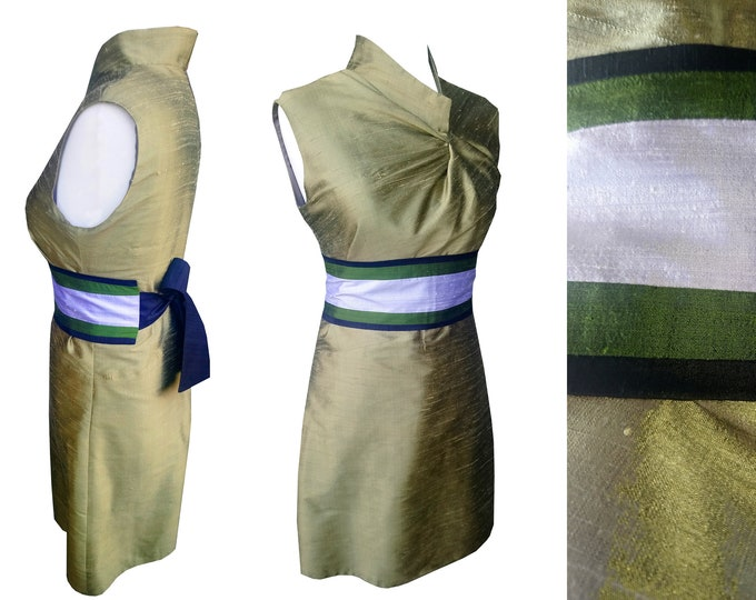 SALE 40% Asian style silk dress asymmetrical cut and stand up collar