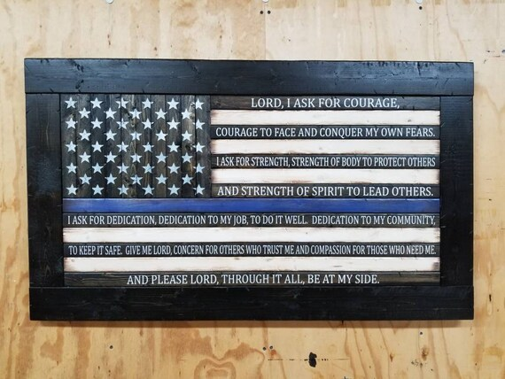 Wooden Rustic Style American Flag with Police Officer's Prayer (Version 2)