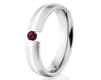 Tension Set Ring, 5mm, Uniequly You, Two Toned Titanium and Sterling Silver, Ruby, 5HR11G-SS-BR