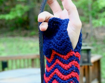 Crocheted Wrist Warmers. Red and Navy.