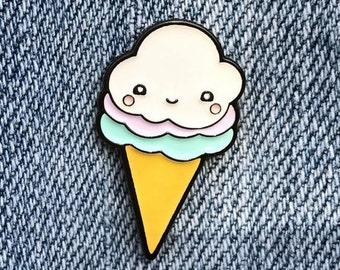 Kawaii Happy Ice Cream Cone Soft Enamel Lapel Pin