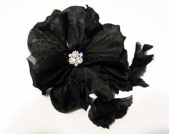 Black Bridal Hair Flower Comb, Rhinestone Ornament Center